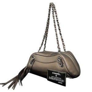 Metallic Leather Bronze Fringe Chain Shoulder bag