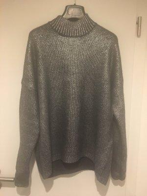 Metallic Pullover mit Reißverschluss