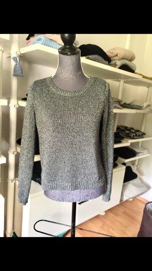 Metallic Pullover silber-grau Größe S