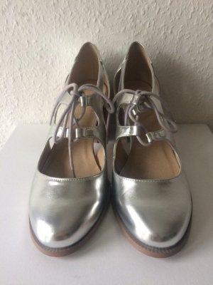 Metallic Schuhe Silber - Sandalen mit Absatz