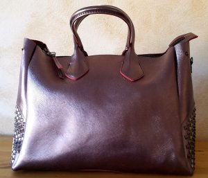 Shopper bright red imitation leather