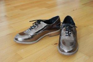 Metallic silber/ goldene Halbschuhe, Schnürschuhe im Oxford/Chelsea Style, New Look, Größe 38 - NEU!