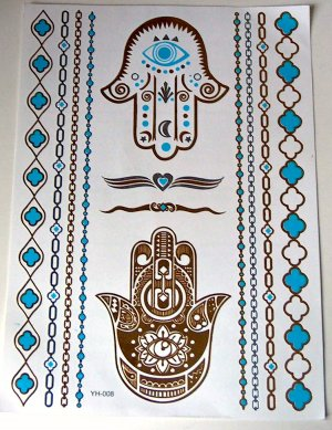 Metallic Tattoo gold türkis
