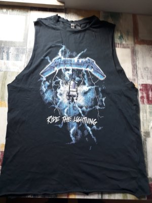 H&M Muscle Shirt black-neon blue