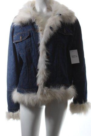 METEO Jeansjacke blau-wollweiß Jeans-Optik