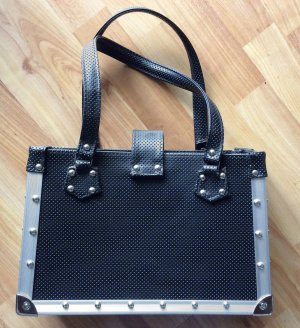 Carry Bag black-silver-colored imitation leather