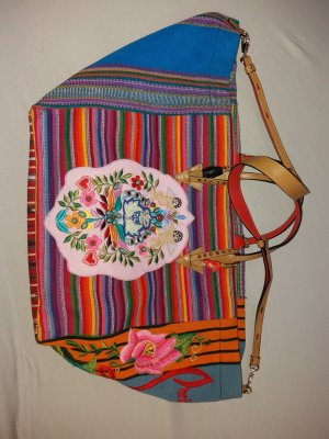 Mexicaba Crest- Embroidered Striped Tote,Pink