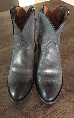 Western Booties grey-light grey leather