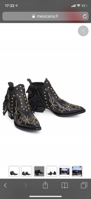 Western Booties black-gold-colored leather