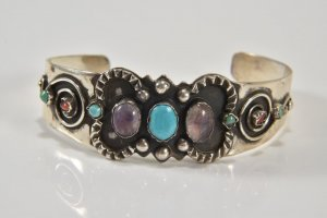 Mexico Silver Armreif silberarmband 925 sterling silber Türkis Amethyst silver bracelet bangle gemstone turquoise
