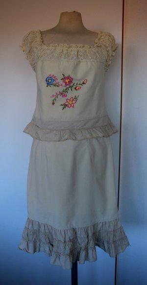 Midi-jurk licht beige Katoen