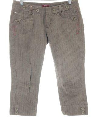 Mexx Pantalone a 3/4 marrone-grigio-rosso scuro motivo a righe stile casual