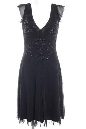Mexx Abendkleid schwarz-blau Ornamentenmuster klassischer Stil
