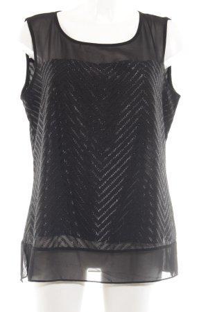 Mexx ärmellose Bluse schwarz grafisches Muster Glitzer-Optik