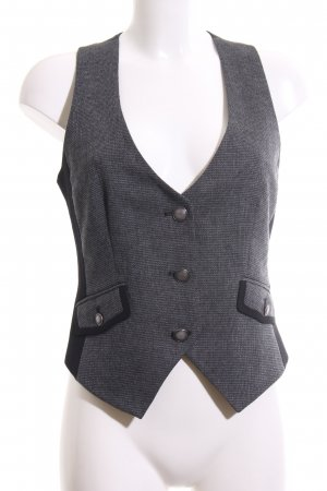 Mexx Waistcoat light grey-black weave pattern business style