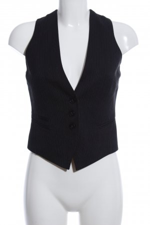 Mexx Waistcoat black-light grey striped pattern business style