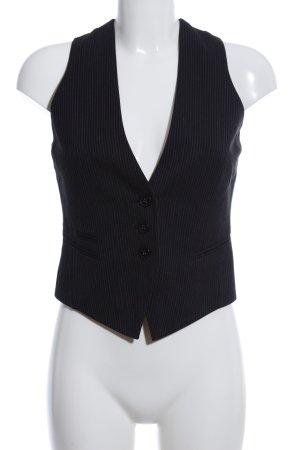Mexx Gilet de costume noir-gris clair motif rayé style d'affaires