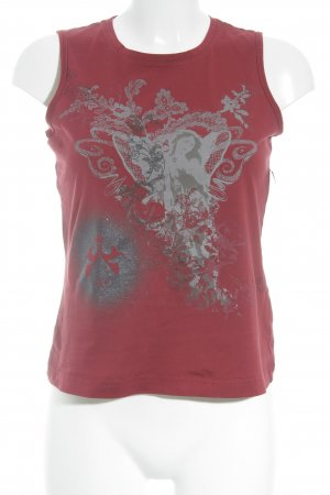 Mexx Basic Top dark red-light grey themed print casual look