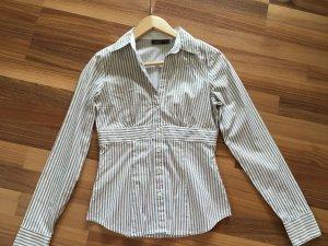 MEXX Bluse Damen, Größe 34 XS, weiß/creme gestreift