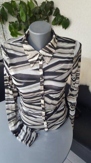 MEXX Bluse Gr. L ca. 40 schwarz weiss leicht transparent