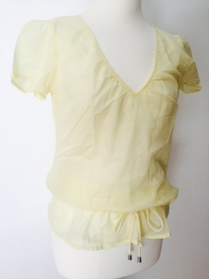 Mexx Bluse Shirt gelb gr. 36 transparent kurzarm