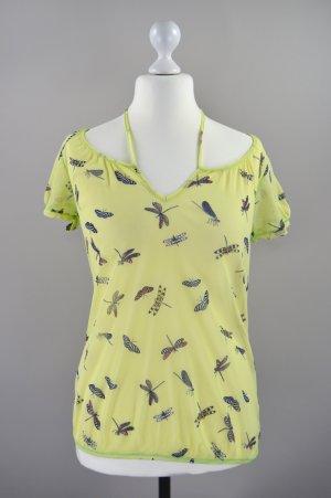 Mexx Bluse transparent mit Schmetterlingen gelb Größe XL