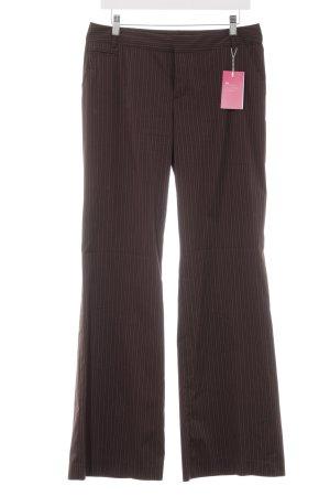 Mexx Pantalon à pinces brun foncé-blanc rayure fine style d'affaires