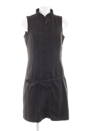 Mexx Abito blusa camicia nero-marrone motivo a righe stile casual