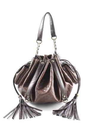 Mexx Sac Baril brun noir motif à carreaux style décontracté