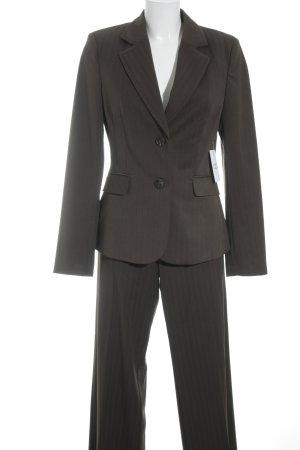 Mexx Broekpak grijs-bruin-korenblauw krijtstreep zakelijke stijl