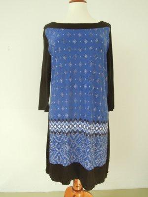 Mexx Kleid Schwarz Blau Muster Gr. L