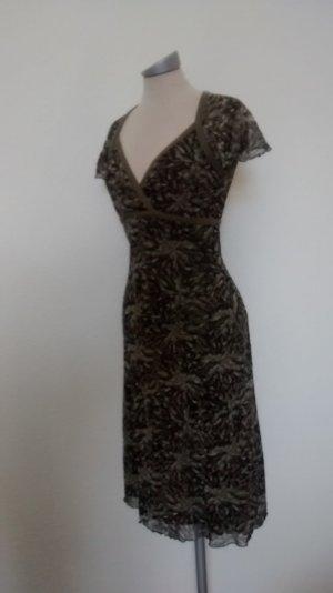 Mexx Kleid Stretchkleid Gr. XS 34 khaki grün kurzarm