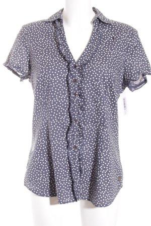 Mexx Kurzarm-Bluse graublau-weiß Punktemuster Romantik-Look
