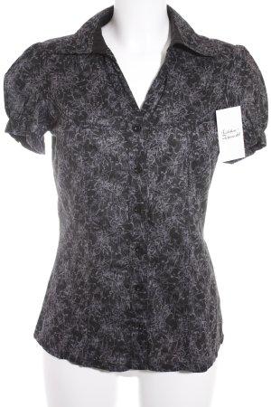 Mexx Kurzarm-Bluse schwarz-hellgrau Ornamentenmuster klassischer Stil