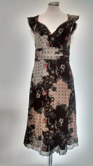 Mexx kurzarm Kleid Gr. XL 44 knielang braun wickeloptik gerafft Büro