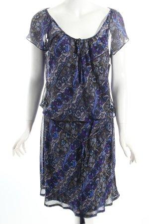 Mexx Kurzarmkleid dunkelblau-lila florales Muster Casual-Look