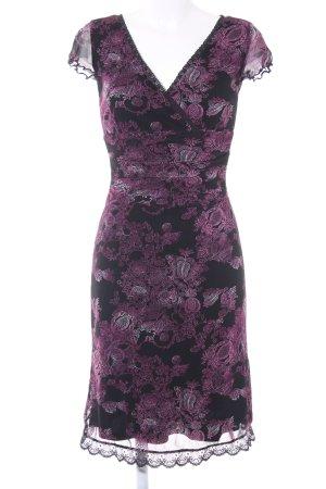 Mexx Kurzarmkleid schwarz-violett Blumenmuster Elegant