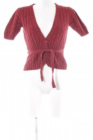 Mexx Short Sleeve Knitted Jacket dark red casual look