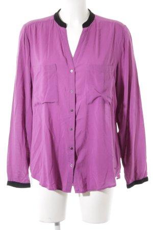 Mexx Langarm-Bluse violett-schwarz Casual-Look