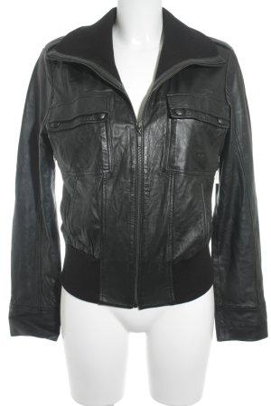 Mexx Lederjacke schwarz klassischer Stil