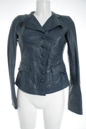 Mexx Leather Jacket steel blue biker look