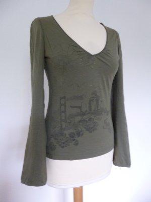 Mexx Longsleeve Shirt in grün mit Print Gr. S 36