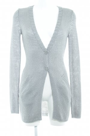 Mexx Long Knitted Vest silver-colored-grey loosely knitted pattern casual look
