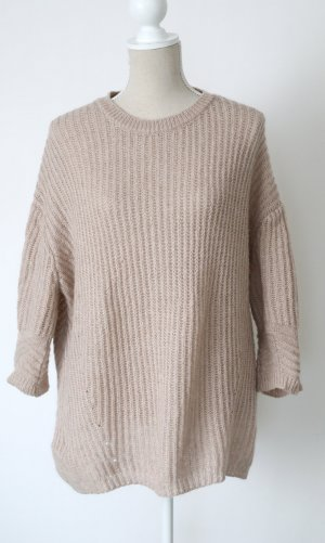 * Mexx M 40 Strickpullover Oversize Strick Kuschelstrick Pullover Wolle Mohair creme rose nude *