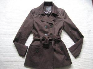 mexx mantel kurzmantel trenchcoat neuwertig gr. s 36 schokobraun