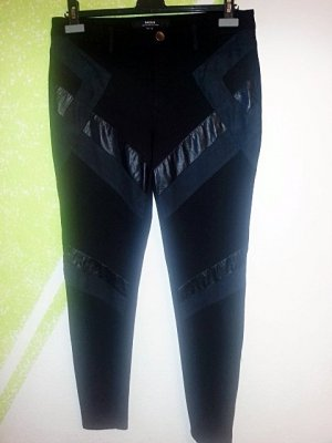 MEXX Metropolitan Winter Hose schwarz Stretch Lederimitation Applikationen Gr 42