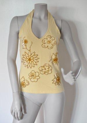 Mexx Neckholder Top mit Pailletten gelb Baumwolle Elasthan M sehr guter Zustand