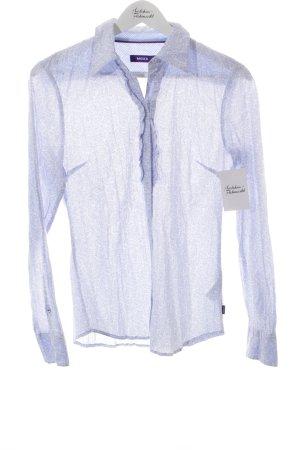 Mexx Rüschen-Bluse weiß-hellblau florales Muster klassischer Stil