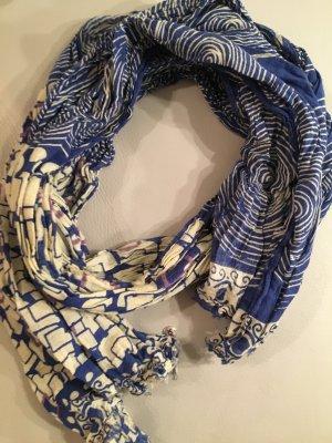 Mexx Gekreukte sjaal blauw-paars-room Katoen