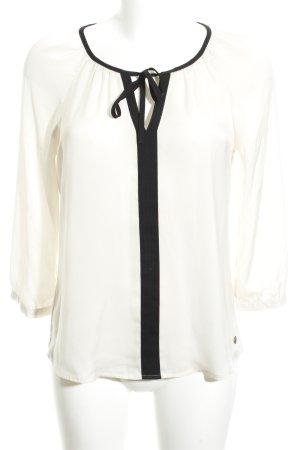 Mexx Blusa con lazo blanco puro-negro estilo «business»